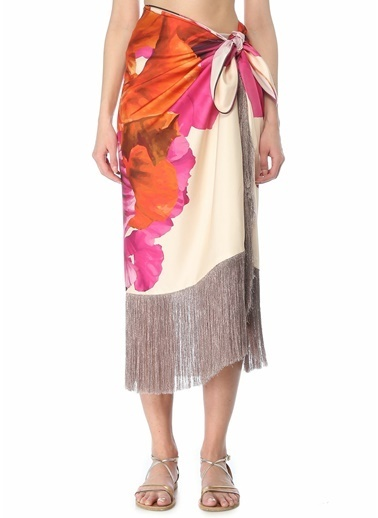 Maria Lucia Hohan Maria Lucia Hohan Maui Çiçek Desenli Püsküllü Midi İpek Pareo 101625338 Renkli